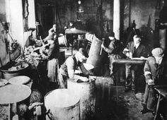 Warsaw, Poland, Work in a boiler-making factory in the ghetto.
