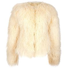 ALEXANDER MCQUEEN VINTAGE Mongolian jacket ($1,220) ❤ liked on Polyvore featuring outerwear, jackets, coats, fur, tops, alexander mcqueen jacket, fur jacket, cream jacket, beige jacket and cream fur jacket