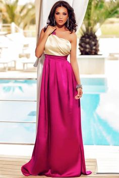 Gorgeous One Shoulder Maxi Prom Dress