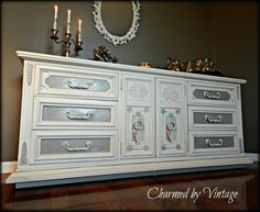 Shabby French Antique White and Grey Dresser / by CharmedByVintage
