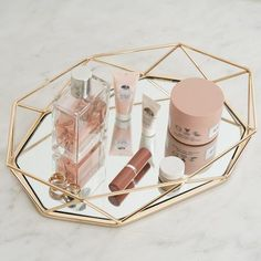 Metal Decorative Serving Trays - Octagon Mirrored Vanity Tray | eFavorMart Mirrored Serving Tray, Serving Tray Decor, Mirror Vanity Tray, Mirrored Vanity, Vanity Decor, Vanity Ideas, Octagon Mirror, Tray Styling, Buy Crystals