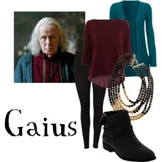 """Gaius"" by companionclothes on Polyvore. Or you could just wear a maroon muumuu....."