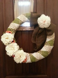 Green and white burlap wreath
