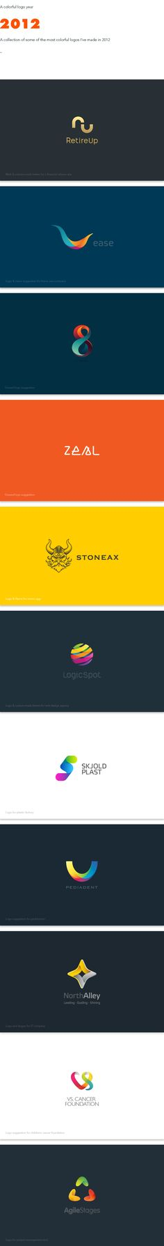 A colorful logo year 2012 by Maria Grønlund, via Behance