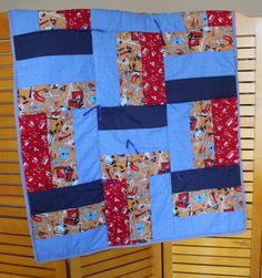Patchwork Quilt. 45 x 36 Boys Tools  Blue by RowesFlyingNeedles