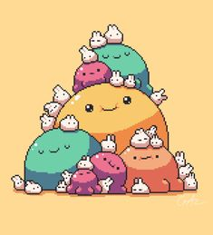 Blobs and bunnies Game Character, Character Design, Pixel Characters, 8 Bit Art, Pixel Art Games, Game Concept Art, Fanarts Anime, Creature Design, Game Design