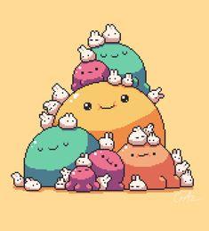 Blobs and bunnies Sprites, Game Character, Character Design, 8 Bit Art, Pixel Art Games, Game Concept Art, Fanarts Anime, Anime Pixel Art, Creature Design