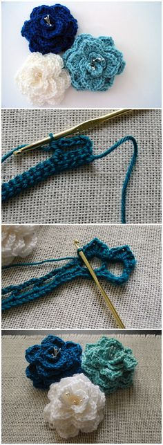 Crocodile Stitch Flower Free Pattern