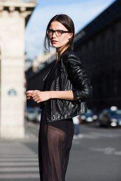 The Sartorialist - I would have a skirt or leggings under this, but, I adore the look!  The combination of the minimal makeup, funky glasses, hard lines of the leather biker jacket, and the softness of the chiffon is fantastic.  This outfit would also be incredible if the dress were a bright, poppy color.