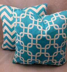 """2 Pillow Covers in Turqoise Blue Chevron and Trellis Pattern 18""""x18"""" on Etsy, $30.00"""