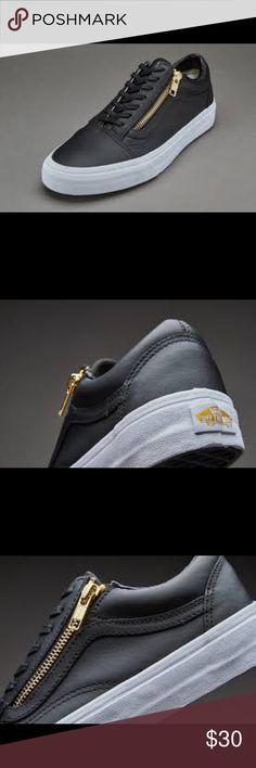 Leather black vans gold zipper size womens 8! Never worn! Sleek black leather with gold zipper detailing next to laces. Classic low top, slim laces. Padded tongue and collar. Vans Shoes Sneakers