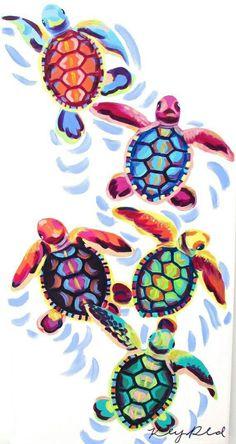 Sea Turtle Hatchlings Painting by Kelsey Rowland- original animal art sea turtle hatching beach house pink blue green purple orange - Crafts For The Times Watercolor Art, Art Painting, Original Animal Art, Drawings, Art Projects, Turtle Painting, Painting, Art, Artsy