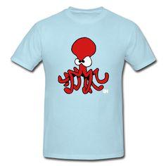 Red octopus on a T-Shirt. #Spreadshirt #Cardvibes #Tekenaartje
