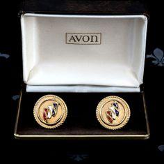 Exquisite AVON Vintage Rose Gold Gents Cufflinks CADILLAC Original Box