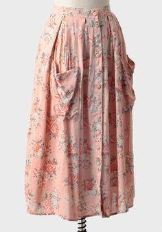 Feminine Charm Rose Print Skirt   Modern Vintage Flea Market Outfit