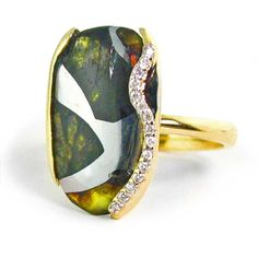 Woman's Meteorite Ring - Pallasite Jewelry - Meteorite Jewelry