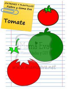Una plantilla muy sencilla para empezar tanto con la goma eva como con el fieltro. Es esta que acabamos de hacer por petición popular de un tomate. Es que nos pidieron HORTALIZAS en la sección PIDENOS LA PLANTILLA QUE BUSCAS.  ¡ESPERO QUE OS GUSTE!