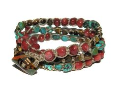 Turquoise Red Coral and Tigers Eye Macrame Triple by GemsdeVine, $27.99
