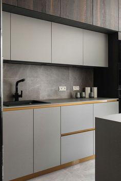 Modern Kitchen Interior Мужская квартира в Санкт-Петербурге с камином и сауной кв. Kitchen Ikea, Home Decor Kitchen, New Kitchen, Kitchen Cabinets, Brown Cabinets, Kitchen Modern, Kitchen Knobs, Modern Kitchens, Kitchen Sink
