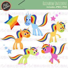 Rainbow Unicorns Clipart Illustrations