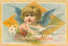 c1890 Antique Victorian CUPID Cherub Woolson Spice Card Print