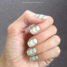 Mint and white chevron manicure