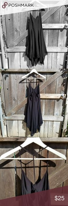 Flowy black sun dress XS This black viscose dress is so easy for summer and so flattering. Sexy spaghetti t- strap back and full drapey crochet trimmed handkerchief hem skirt, you can wear this anywhere! Size is XS, but fits a small as well... 💖Make me an offer, or bundle and I'll make you one😸💖! Cotton On Dresses