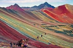 The Rainbow Mountains of Peru and its wild natural terrain.