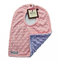 Pink & Lavender Minky Dot Bib-baby, toddler, feeding, drool, new, meg, meg original, boutique, spit up, reflux, preemie, soft, thick, cute, boutique, san diego, posh, minkee, upscale, mink
