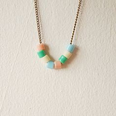 So simple. So pretty. Pastel beads on a chain.