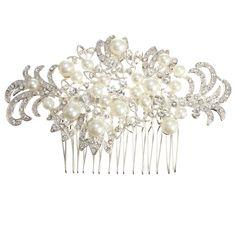 Bridal Wedding Pearl Crystal Rhinestone Flowers Diamante Hair Clip Comb
