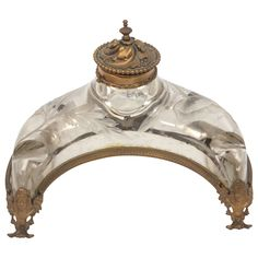19th Century French Crystal and Doré Bronze Inkwell --  etched crystal and doré bronze inkwell with bronze carved detail.