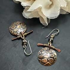 Mixed Metal Earring Handmade Rustic Wire Wrapped Sold