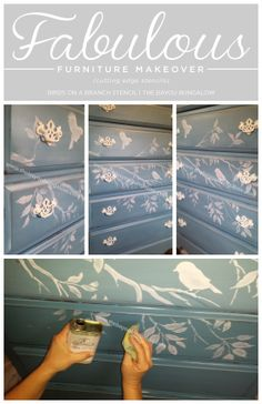 A birds on a branch stenciled dresser in blue… Diy Furniture Redo, Art Deco Furniture, Diy Furniture Projects, Hand Painted Furniture, Recycled Furniture, Shabby Chic Furniture, Painted Dressers, Furniture Refinishing, Office Furniture