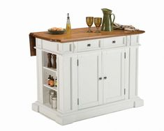 Kitchen Island with Drop Leaf in Rich White and Distressed Oak