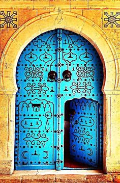 Blue Door in Jerusalem, Israel
