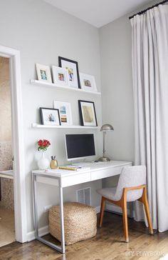 home office design Computer Desk In Bedroom, Bedroom Desk, Home Decor Bedroom, Room Decor, Master Bedroom, Bedroom Office, Bedroom Art, Wall Decor, Home Office Space