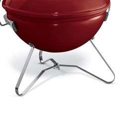 Close up of Weber Smokey Joe Premium portable charcoal BBQ is finished in a stunning Crimson colour