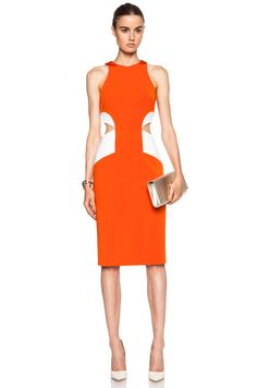 Cushnie et Ochs Power Viscose-Blend Dress with Side Cut Outs in Tangerine & White | FWRD
