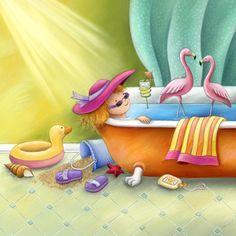 Bath with Flamingos - Claudine Gevry