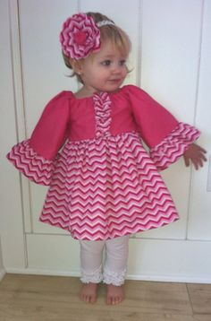 Valentine's Pink Chevron Peasant Dress with Ruffles! Fuchsia Top with Multi Pink Chevron! Perfect for Valentine's Day! Toddler, Little Girl on Etsy, $35.00
