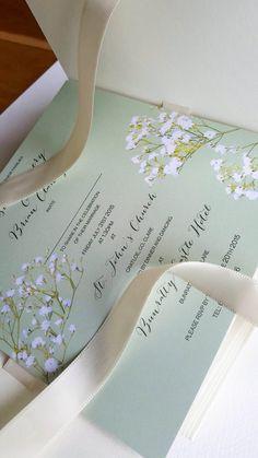 Pistachio Baby's Breath wedding invitation in cream by NellyPress