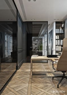 Residence in Lviv on Behance - Arch Interior, Home Interior Design, Interior Architecture, Office Space Decor, Dining Room Office, Kelly Hoppen Interiors, Office Interiors, Home Study Rooms, Home Bar Designs