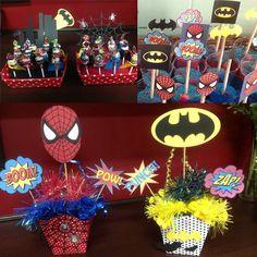 Eu (Lele), ele e as crianças: Festa Infantil: Batman e Homem-Aranha