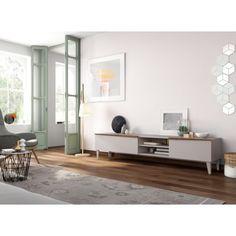 Meuble TV 2 portes et 2 étagères collection MEGEVE en bois laqué vison et noyer pieds droits