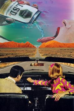 #mountains #trippy #desert #LSD #car #couple #groovy #mojave #art #love
