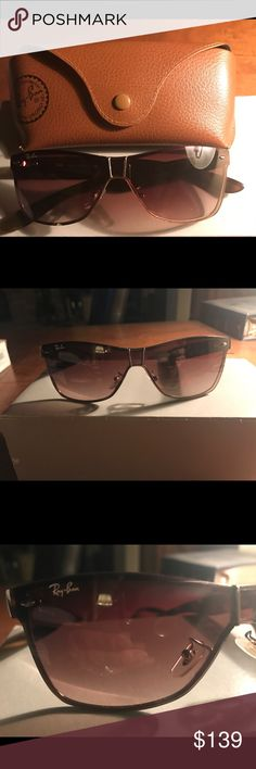 Authentic Raybans in great condition- minimal wear AUTHENTIC RAY-BANS GOLD WITH BROWN LENSES. In excellent preowned condition with a Ray-Ban case. Ray-Ban Accessories Sunglasses