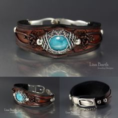 Blue Opal in a hand woven frame.  I made the leather bracelet to fit it, too.  - Lisa Barth