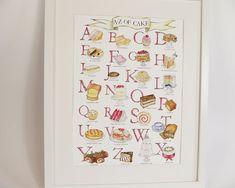 Cake Alphabet Illustrated Giclée Print Wall Art - Prints and Posters Alphabet Art, Kitchen Wall Art, Paper Dimensions, Cake Art, Botanical Prints, Watercolor Illustration, A3, Wall Art Prints, Giclee Print