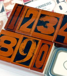 Cavallini Vintage Numbers Rubber Stamps Set with Ink